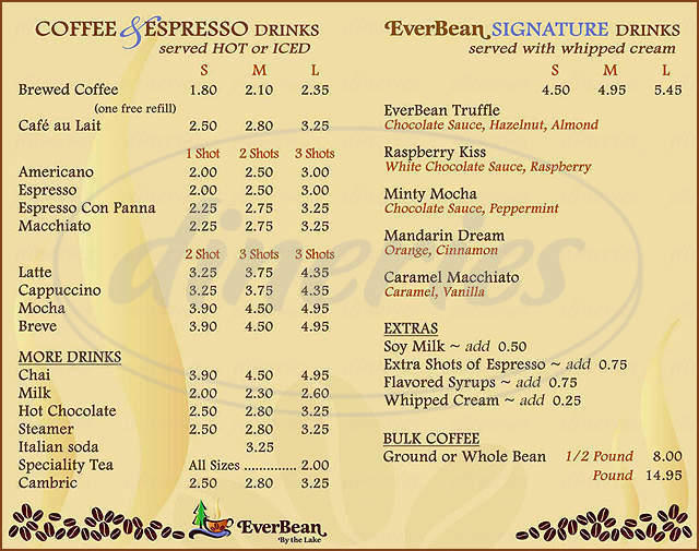 menu for EverBean by the Lake