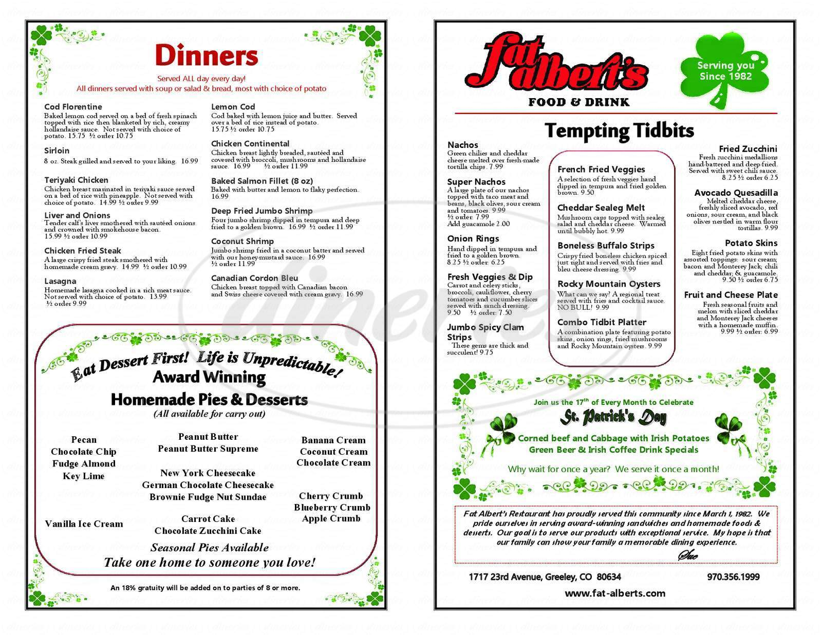 menu for Fat Albert's Restaurant