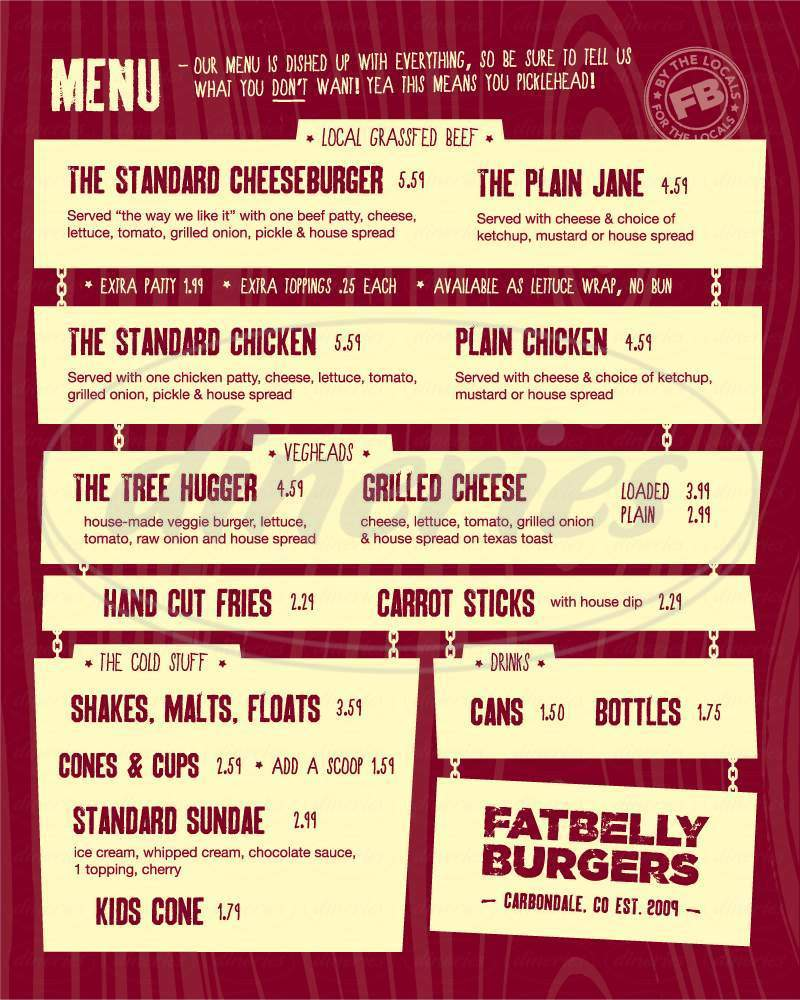 menu for Fatbelly Burgers