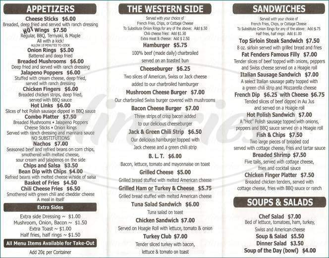 menu for Fat Fenders Grille & Saloon