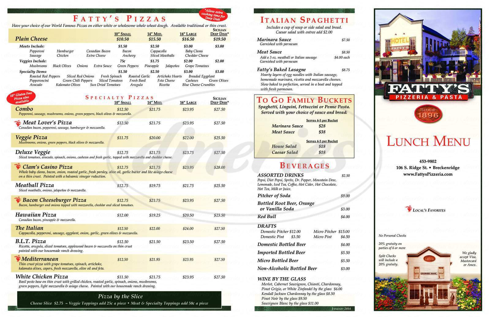 menu for Fatty's Pizzeria