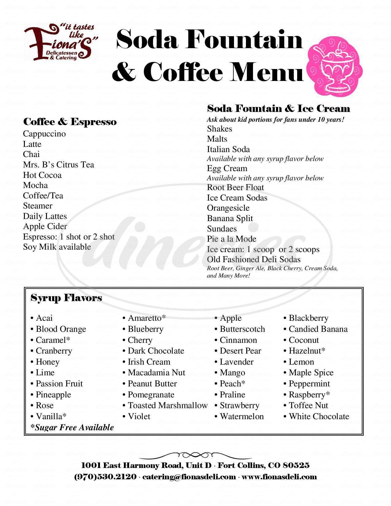 menu for Fiona's Delicatessen & Catering