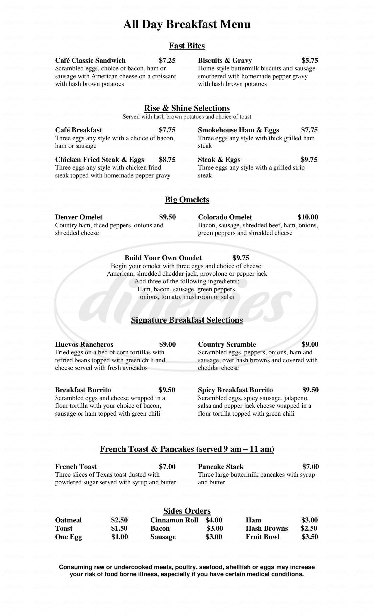 menu for The ShamRock Cafe