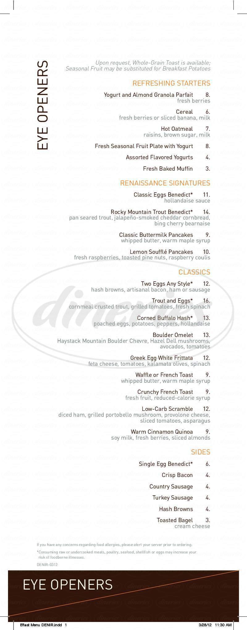 menu for Flatz Restaurant