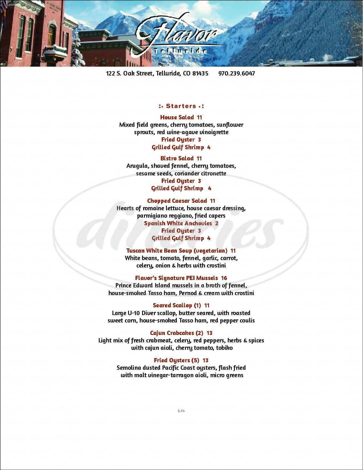 menu for Flavor Telluride