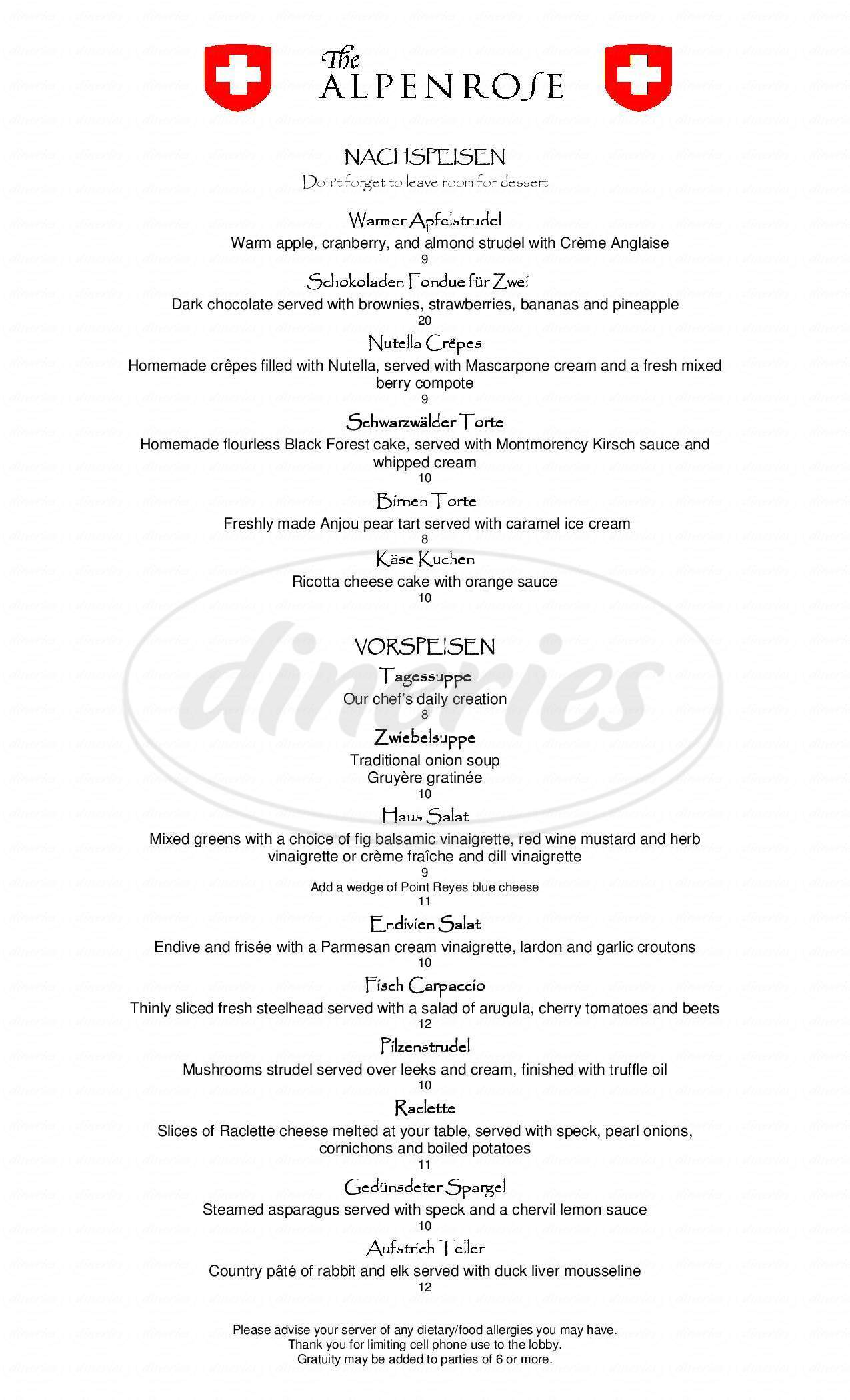 menu for Alpenrose Restaurant