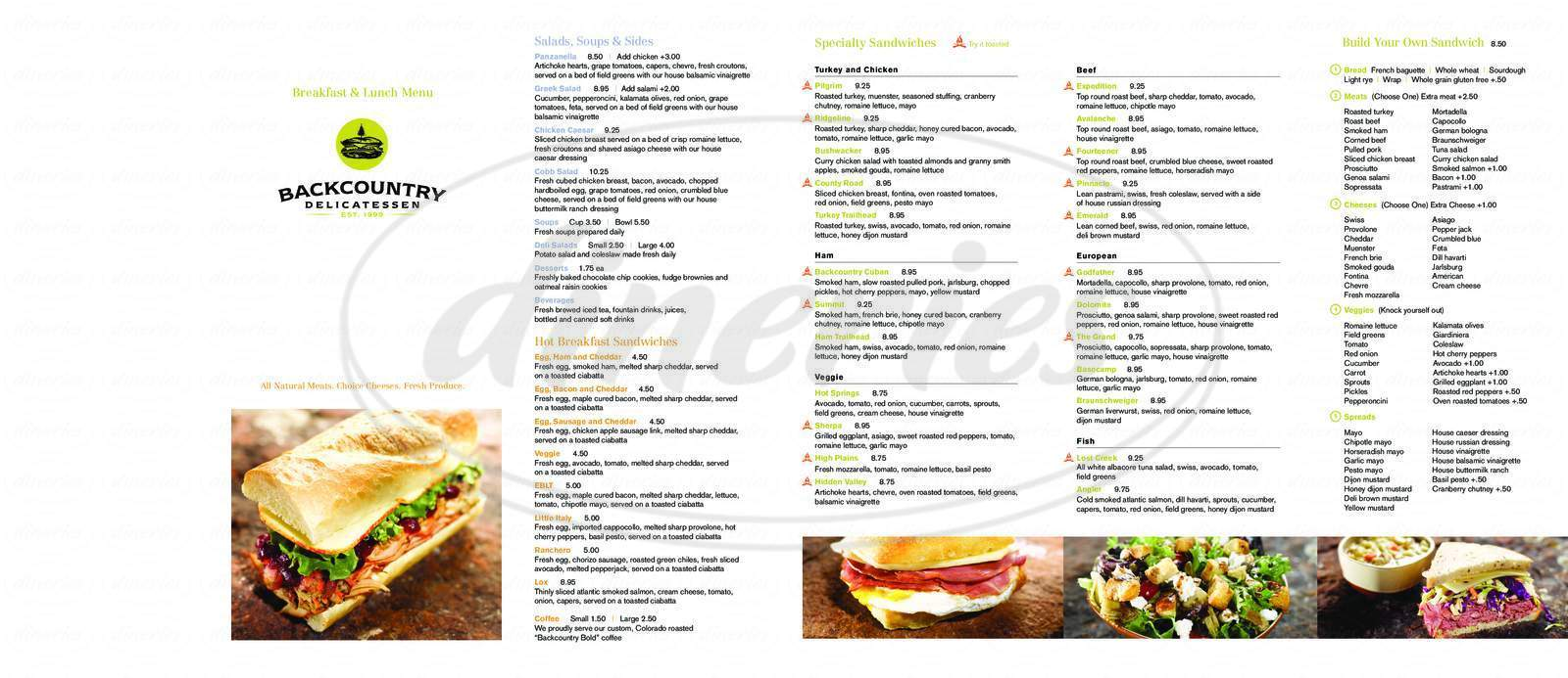 menu for Backcountry Delicatessen