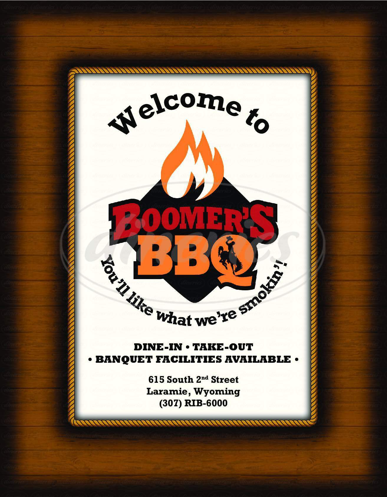 menu for Boomer's BBQ