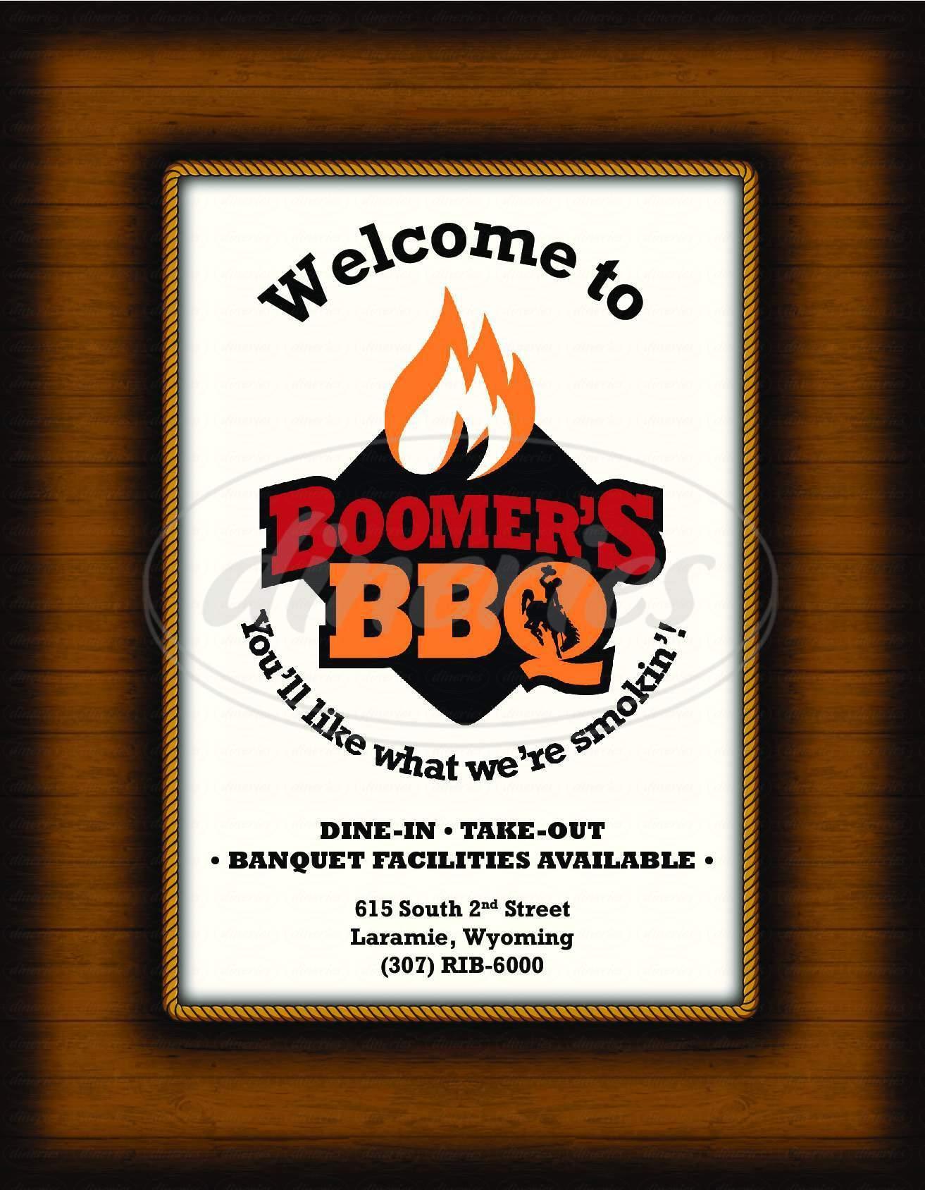 menu for Boomer's BBQ