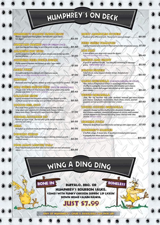 menu for Humphrey's Bar & Grill