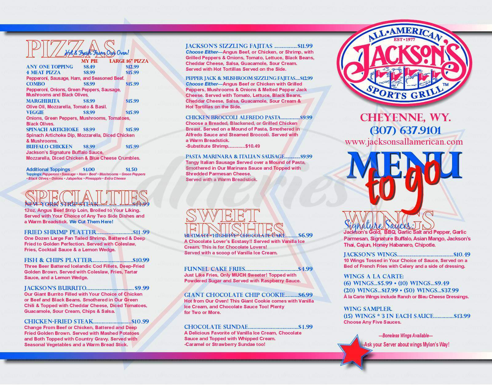 menu for Jackson's All American Sports Grill