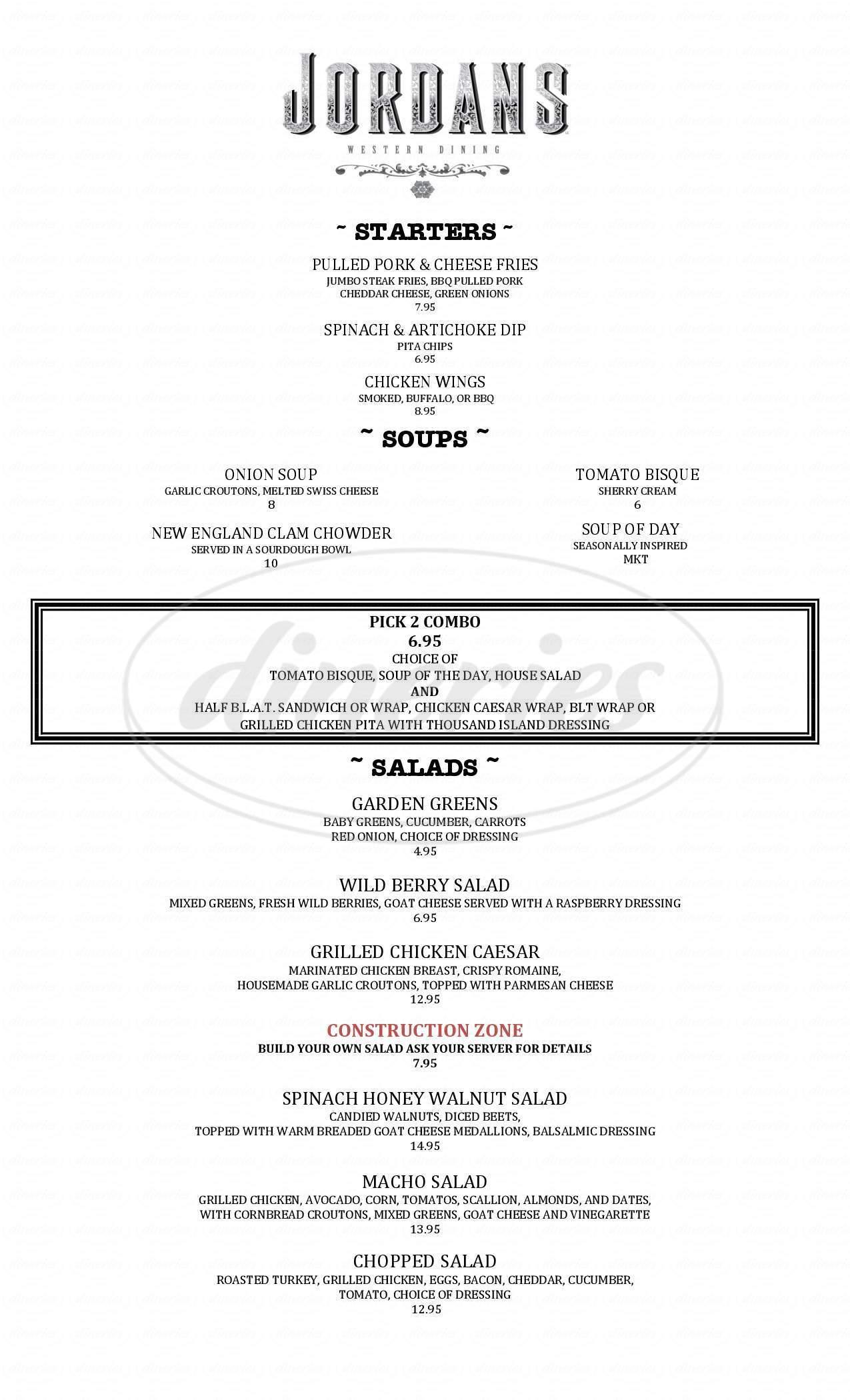 menu for Jordans