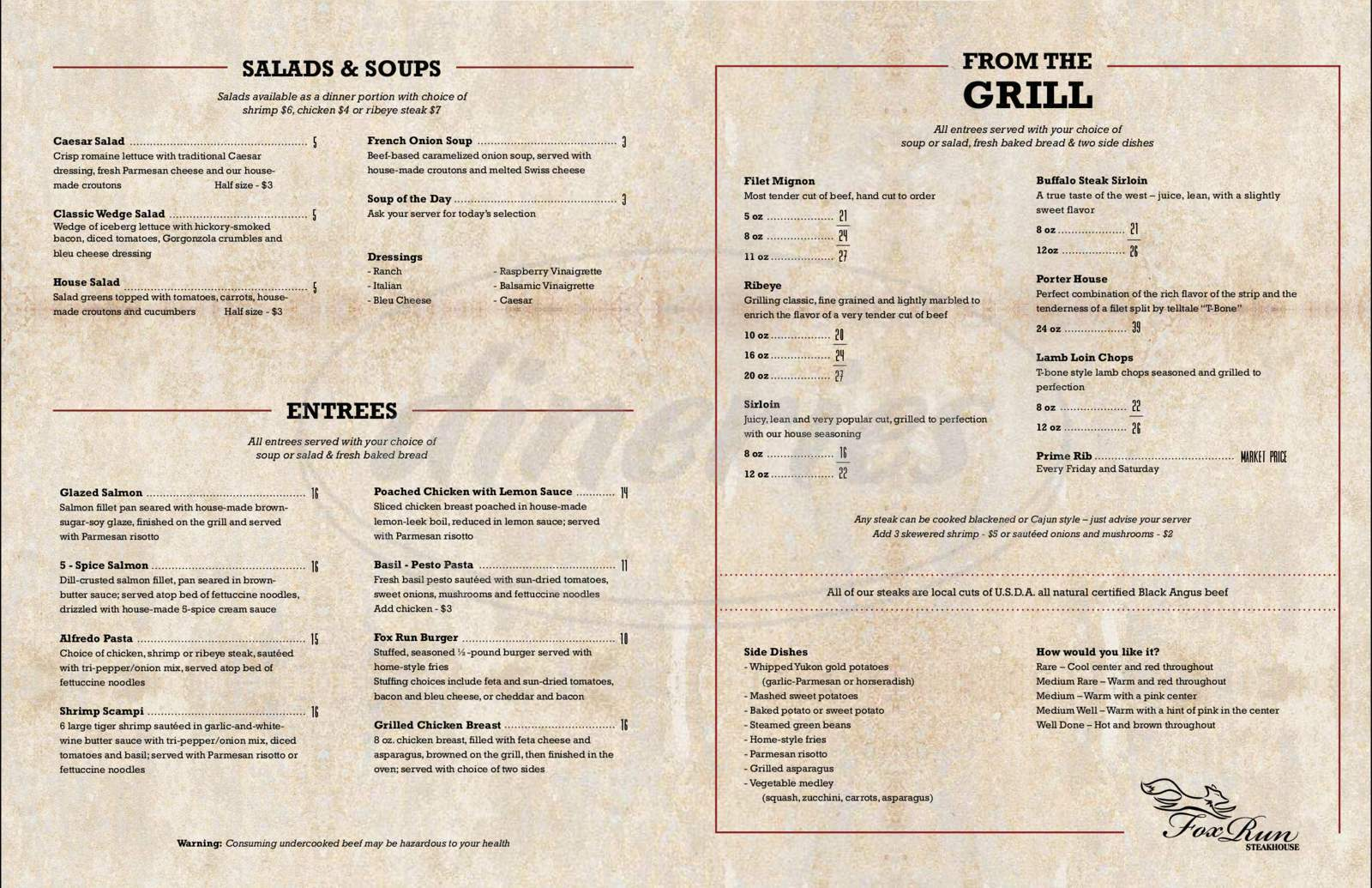 menu for Fox Run Steakhouse @ The Laramie Country Club