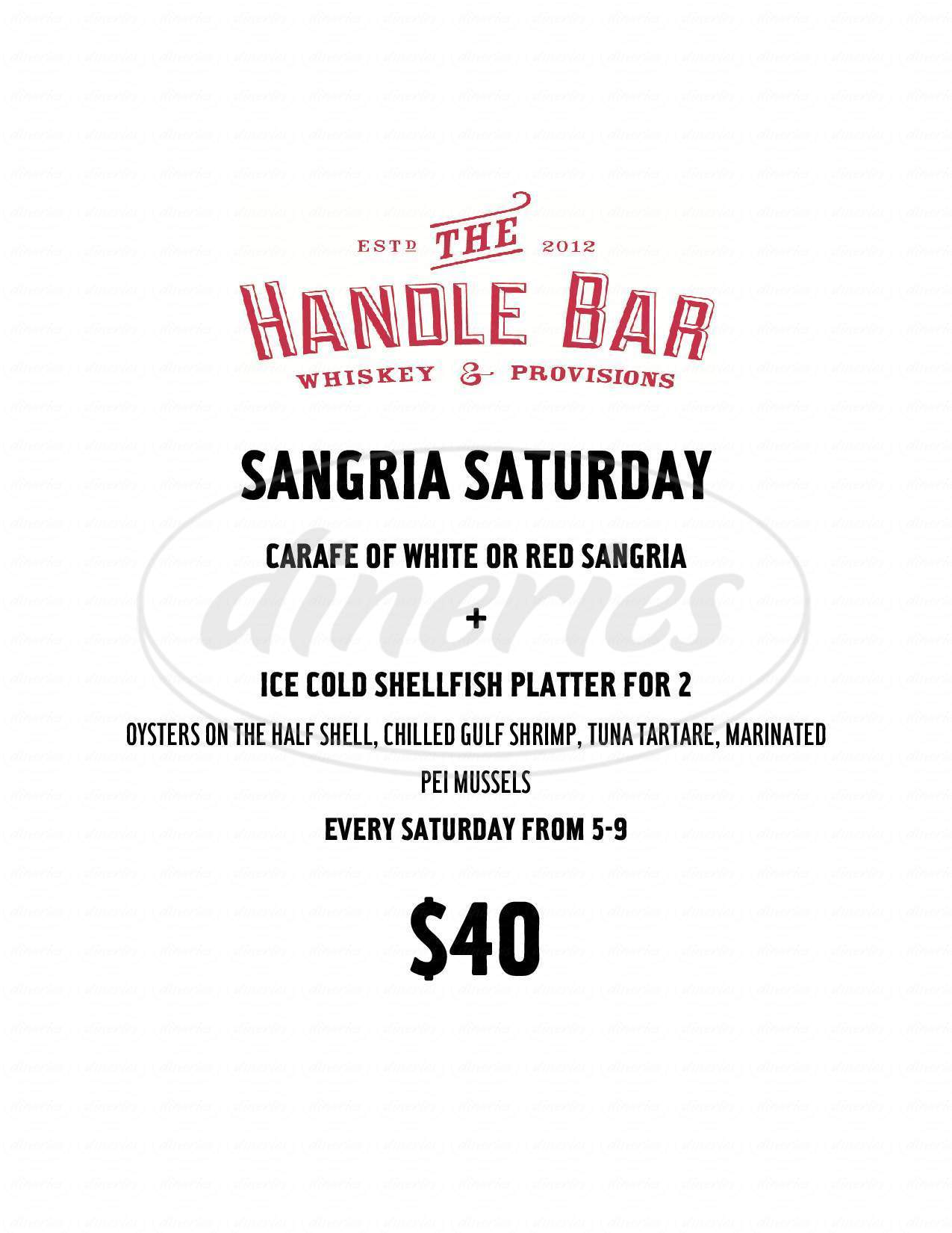 menu for The Handle Bar