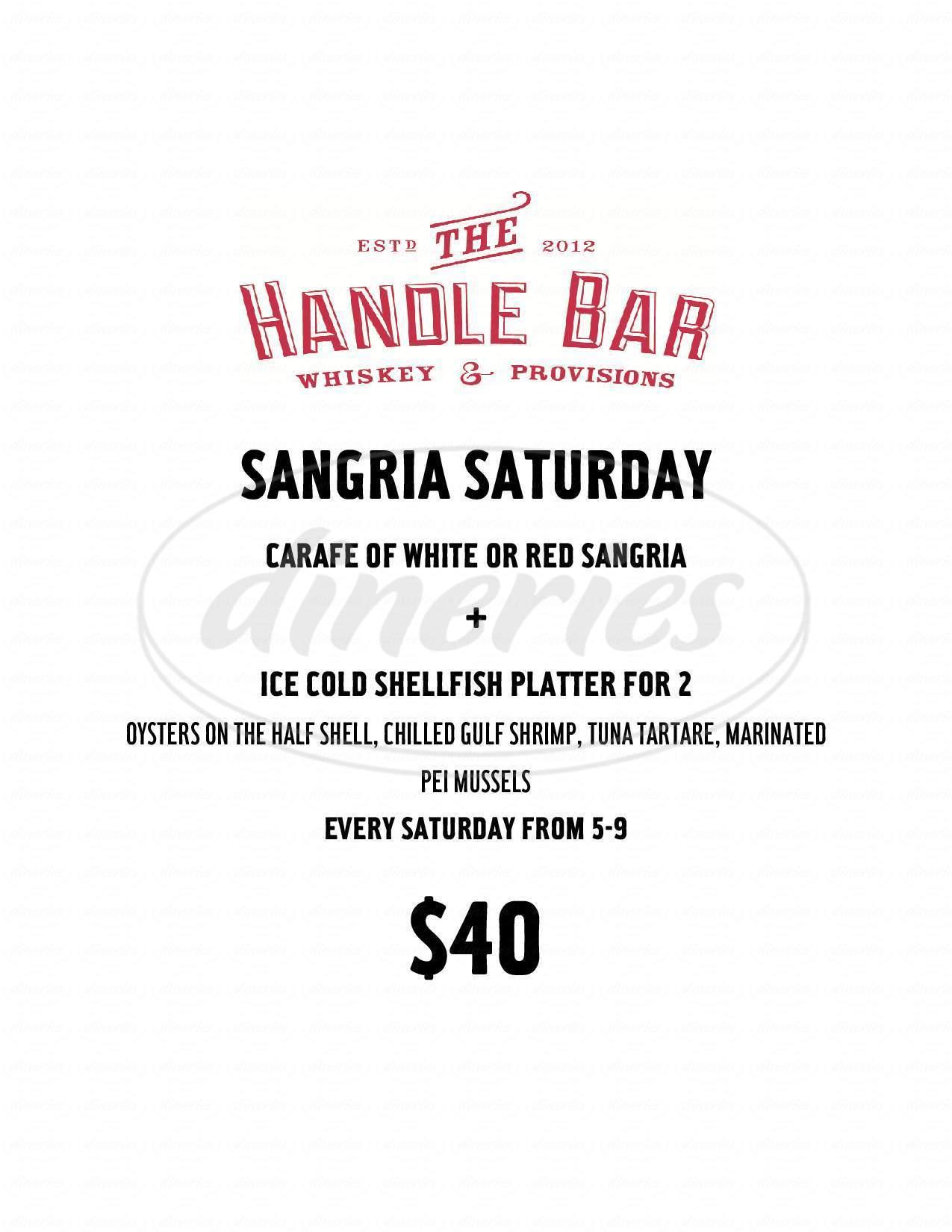 menu for The Handle Bar