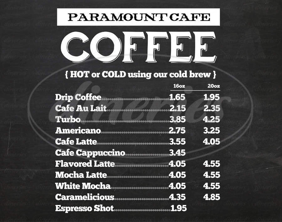 menu for Paramount Cafe