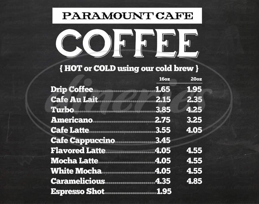 menu for Paramount Cafe