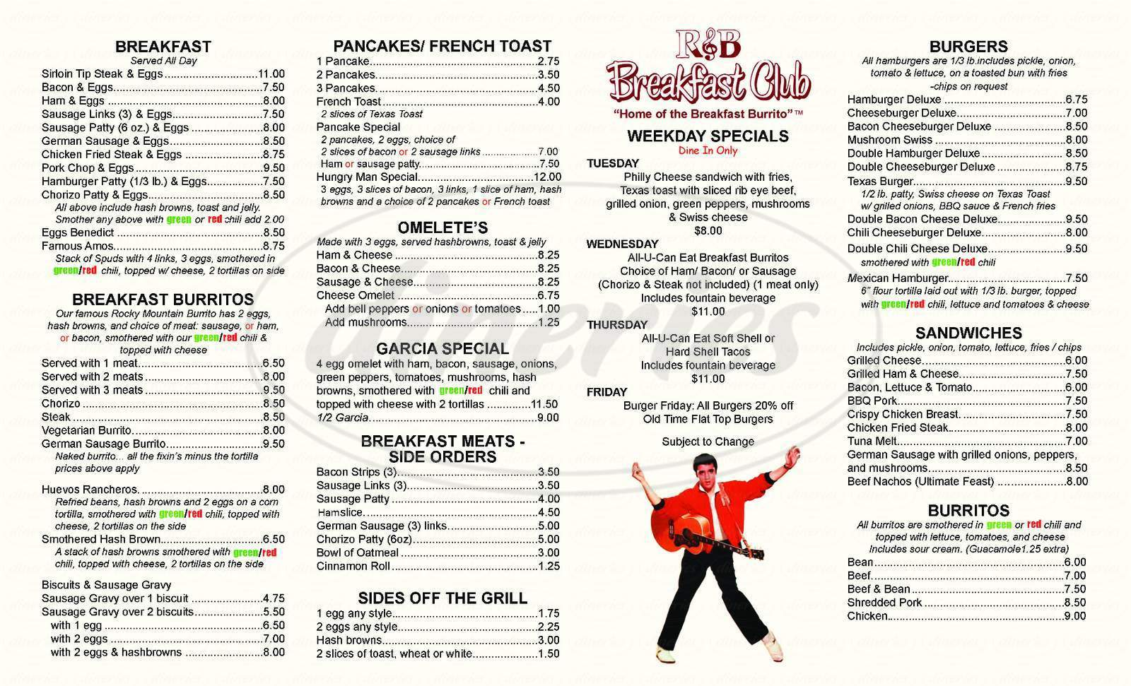 menu for R & B Breakfast Club