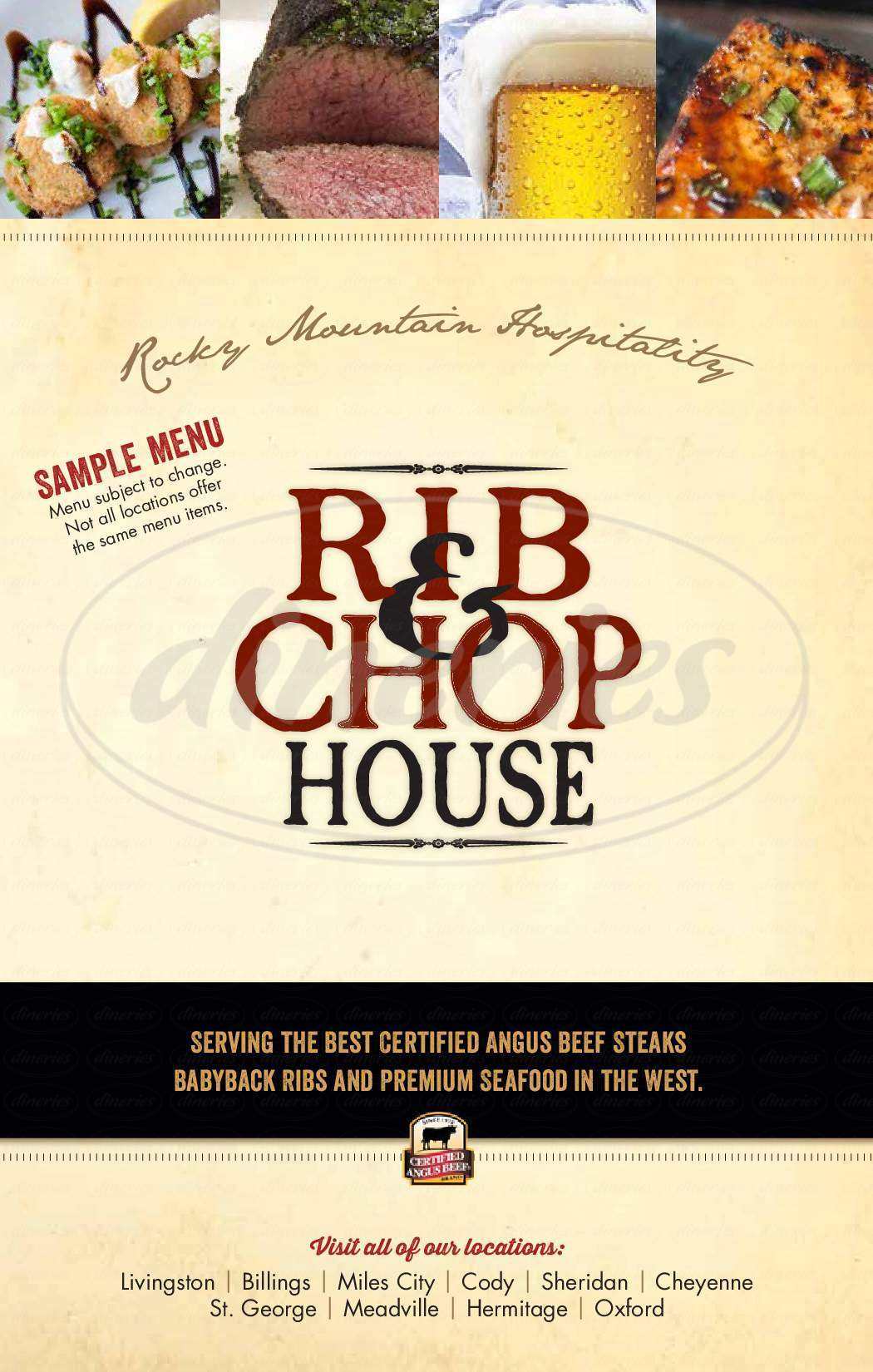 menu for Wyoming's Rib & Chop House