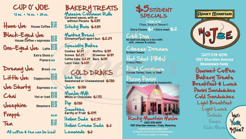 menu for Rocky Mountain MoJoe