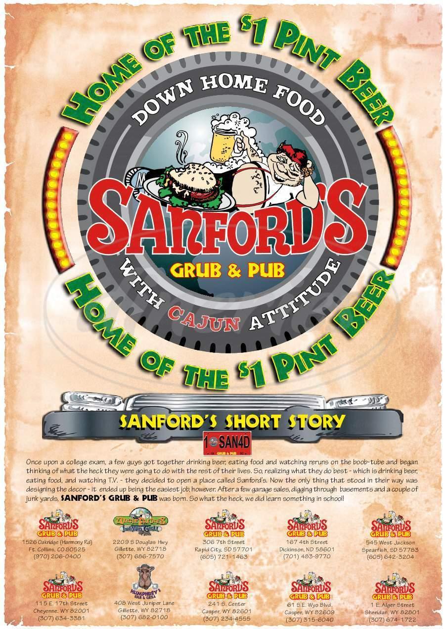 menu for Sanford's Grub Pub