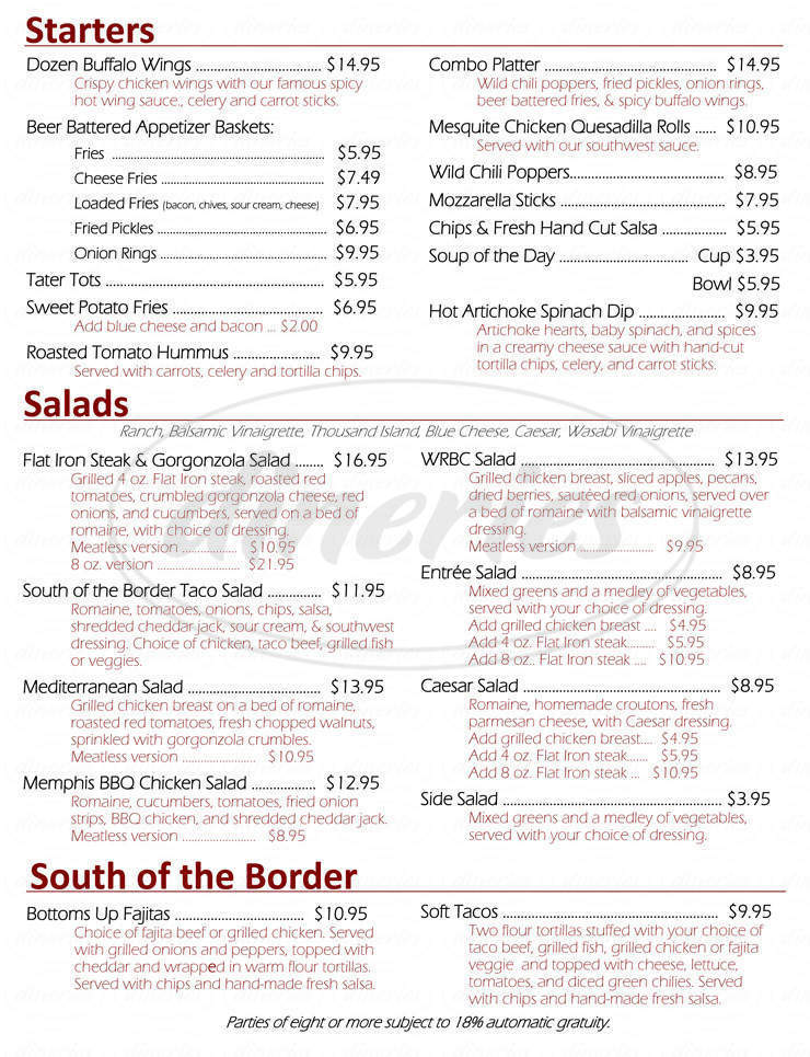 menu for Wind River Brewing Company