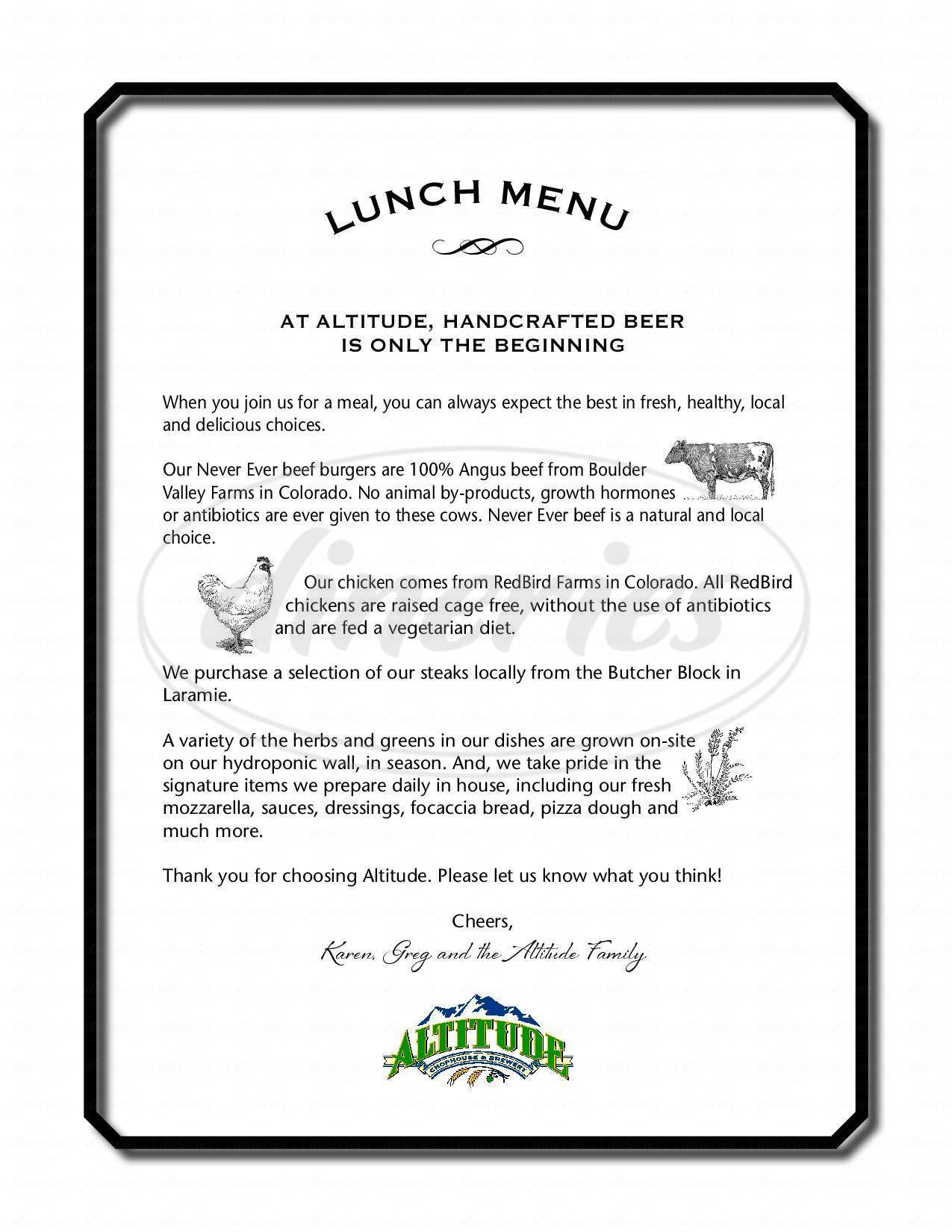 menu for Altitude Chophouse & Brewery