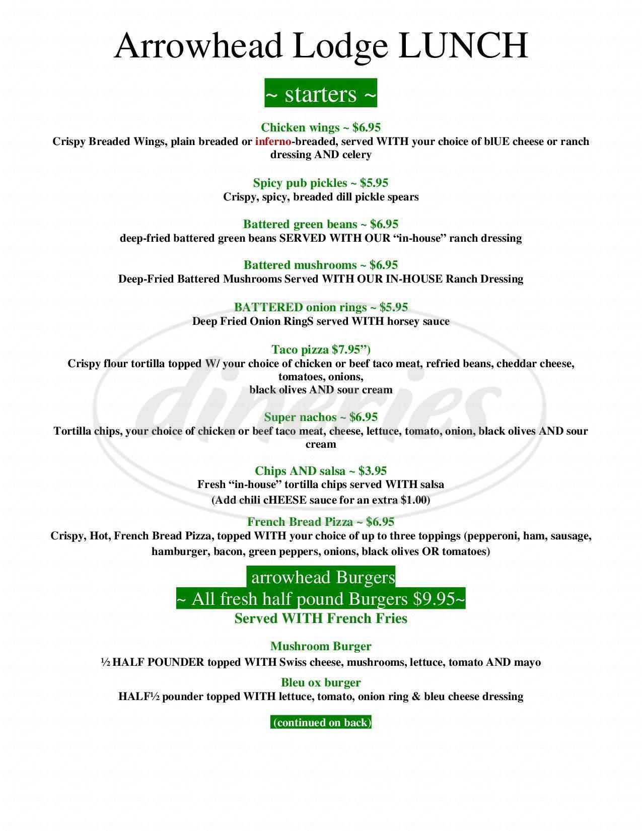menu for Arrowhead Lodge