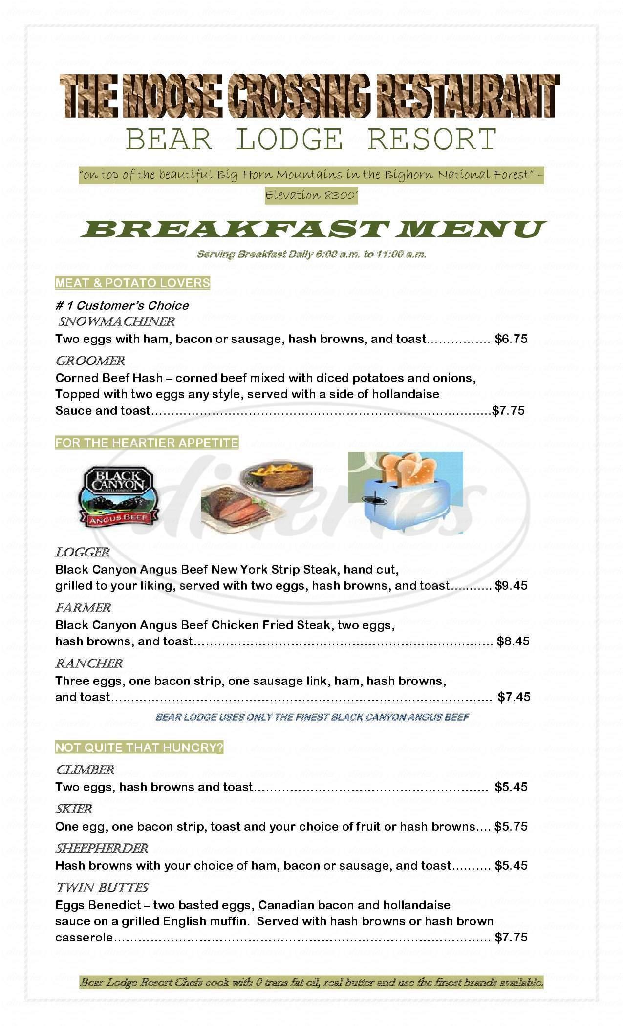 menu for Bear Lodge Resort, Big Horn Mountains