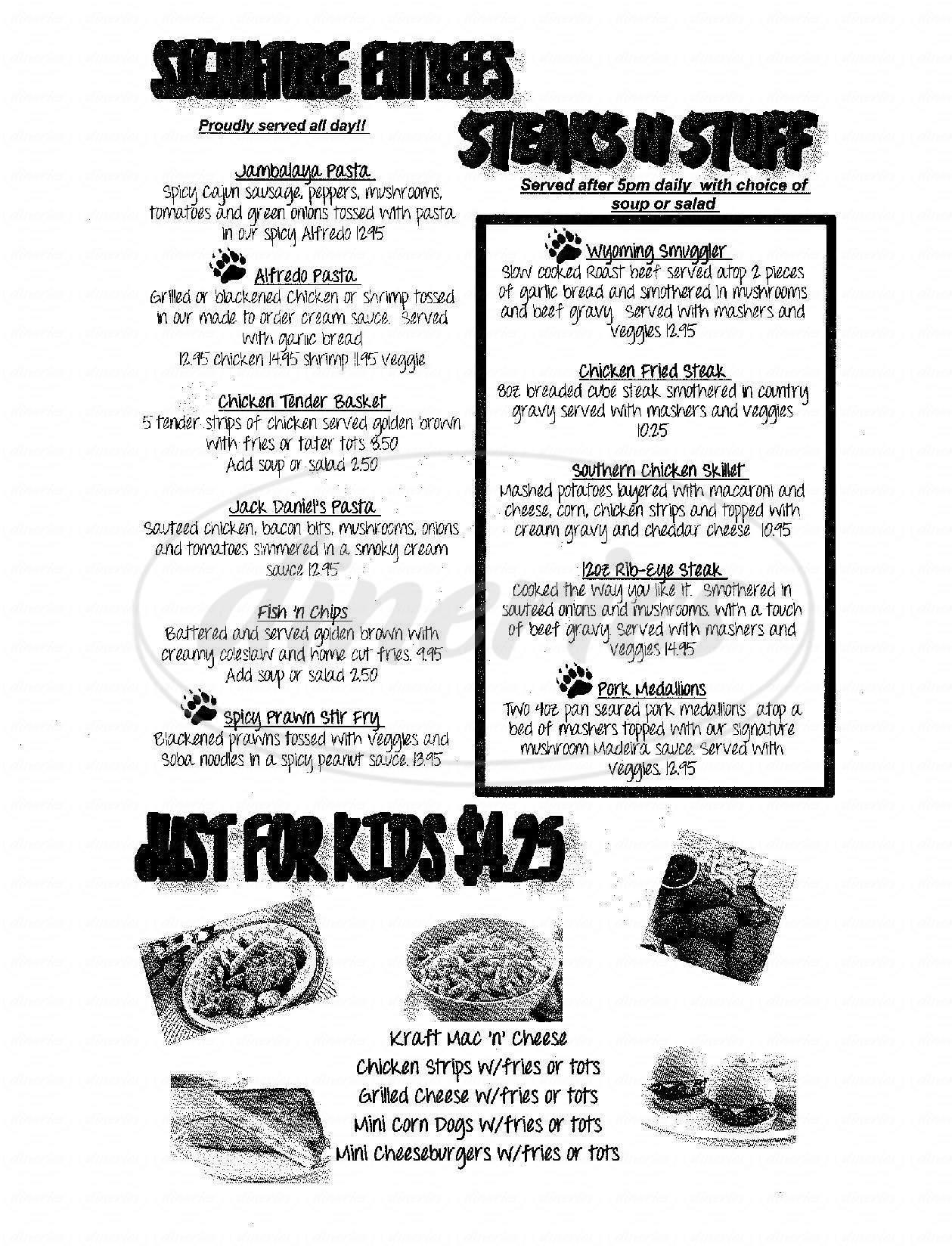 menu for Bear Trap Cafe & Bar