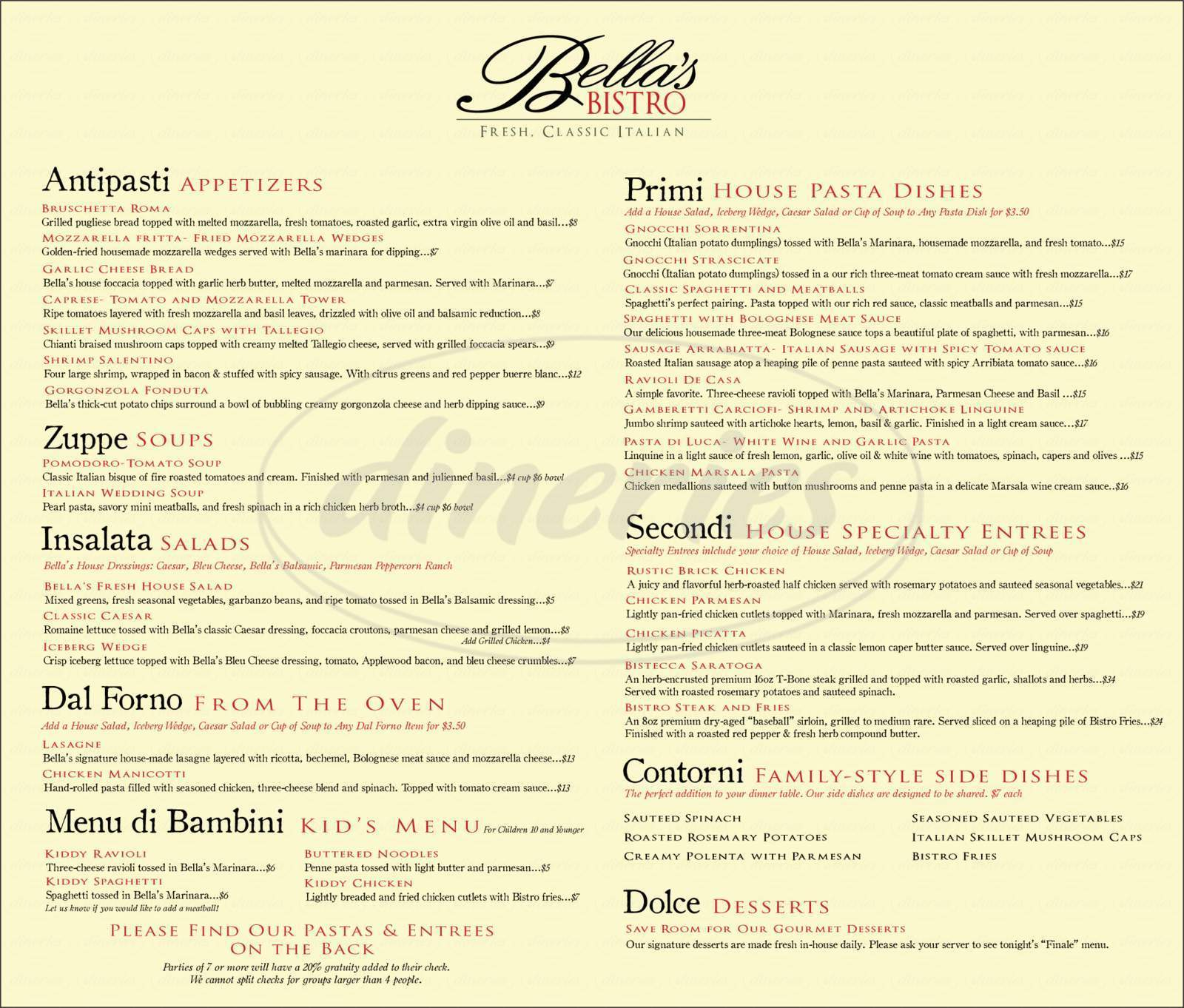menu for Bellas Bistro
