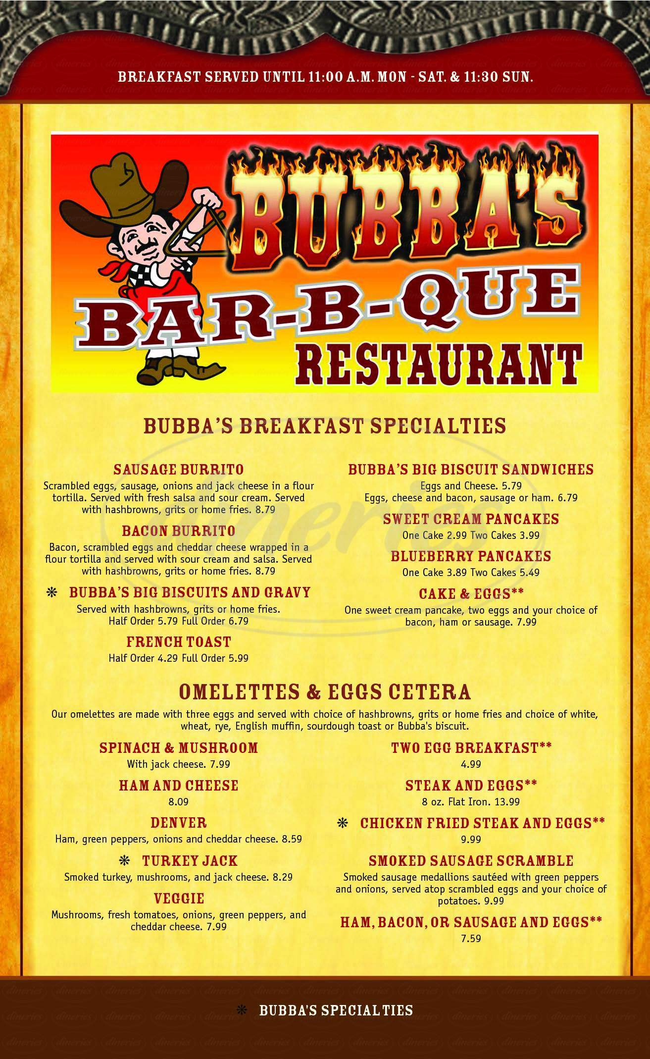 menu for Bubba's Bar-B-Que