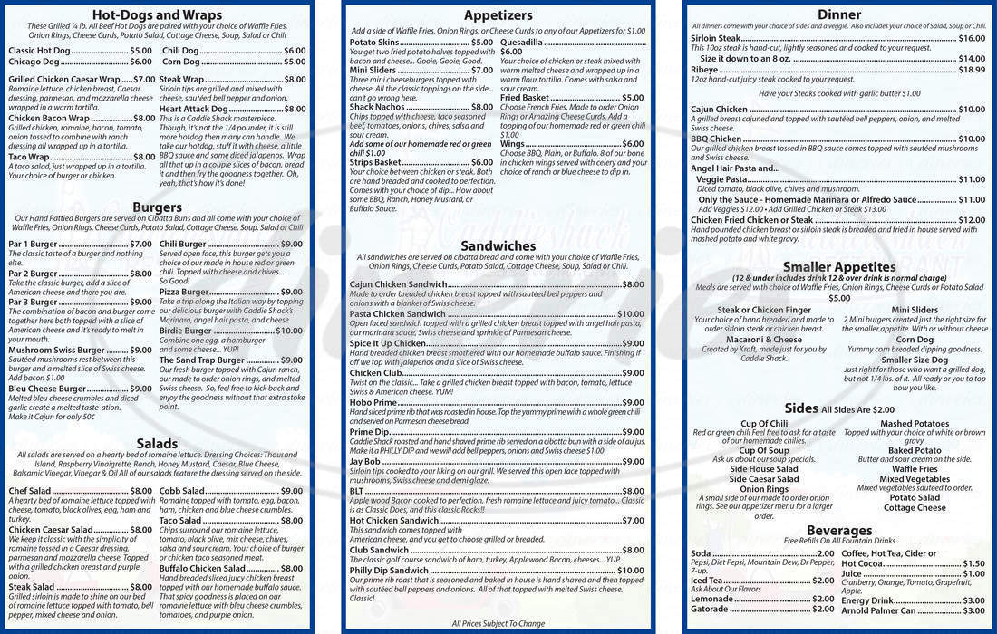 menu for Caddie Shack Restaurant