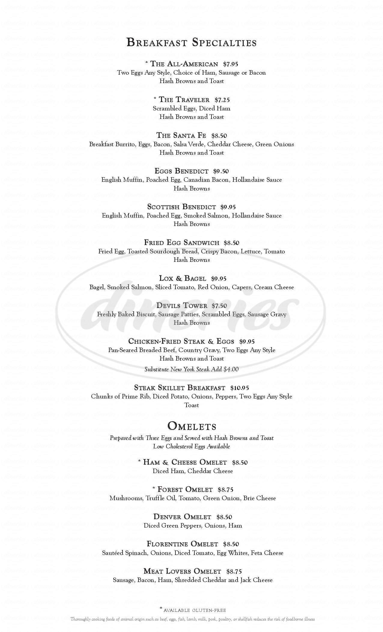 menu for Little America Hotel & Resort - Cheyenne