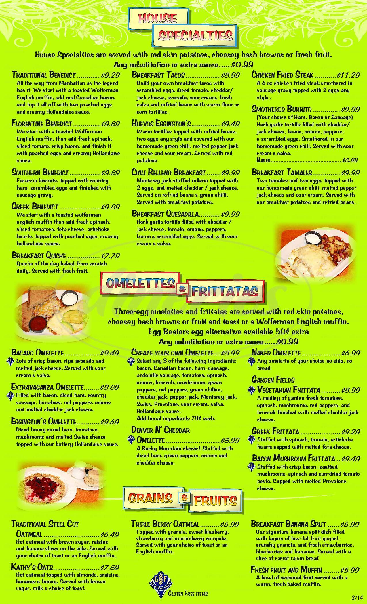 menu for Eggington's