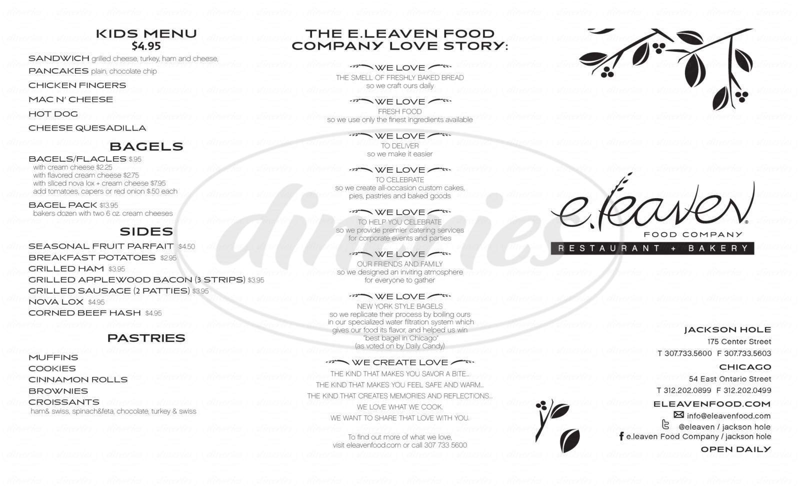 menu for Eleaven Food Company