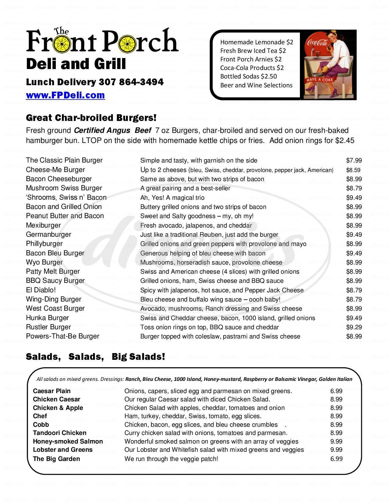 menu for The Front Porch