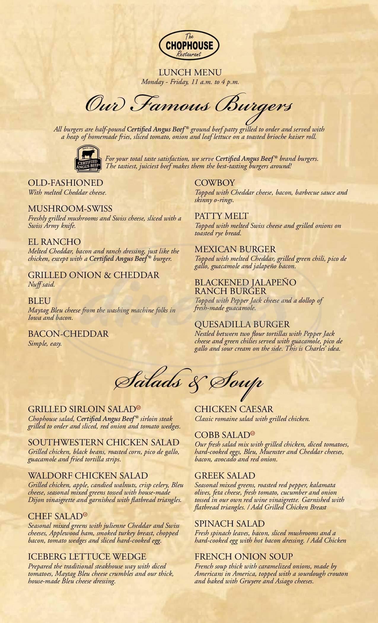 menu for The Chophouse Restaurant