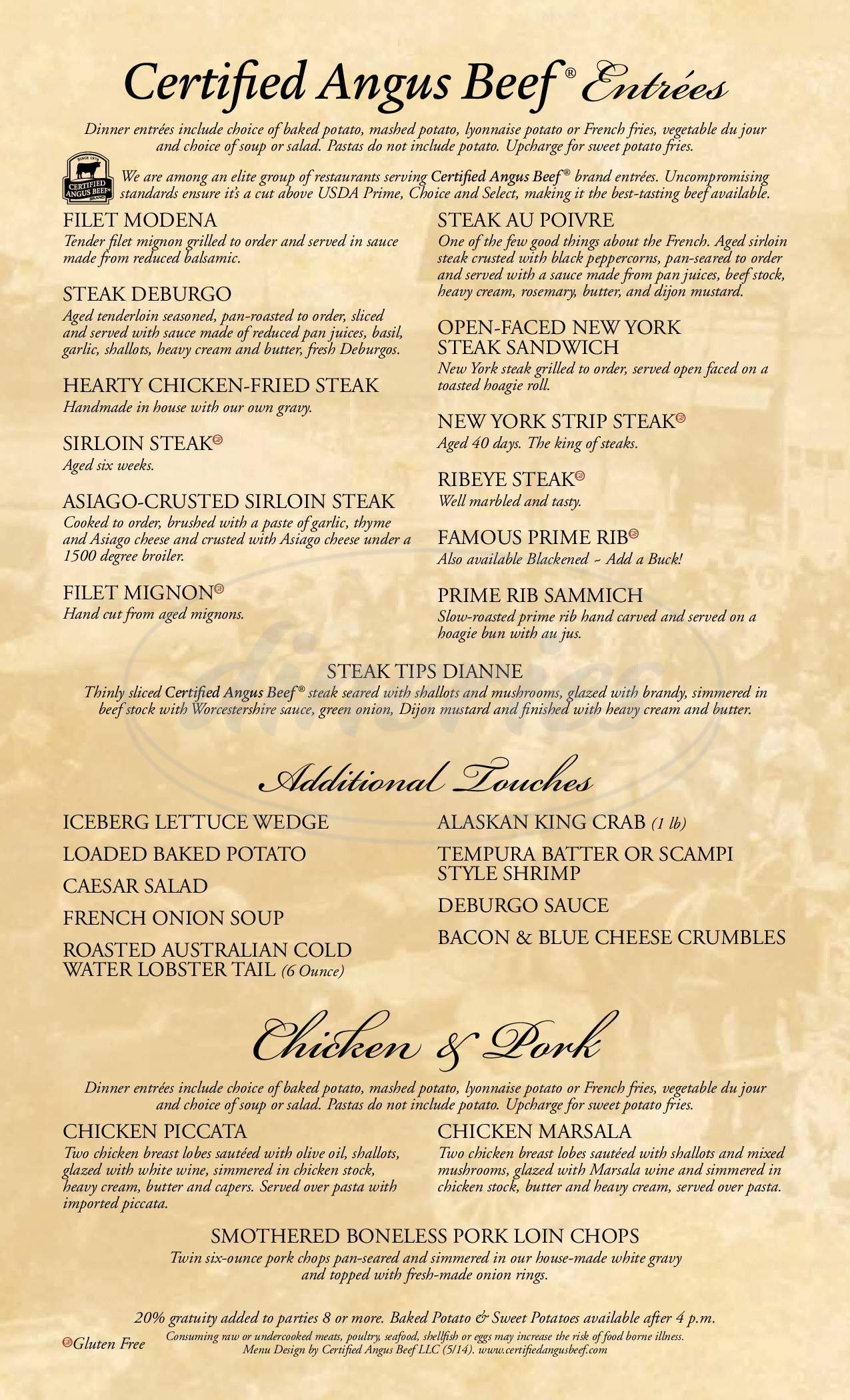 menu for The Chophouse Restaurant