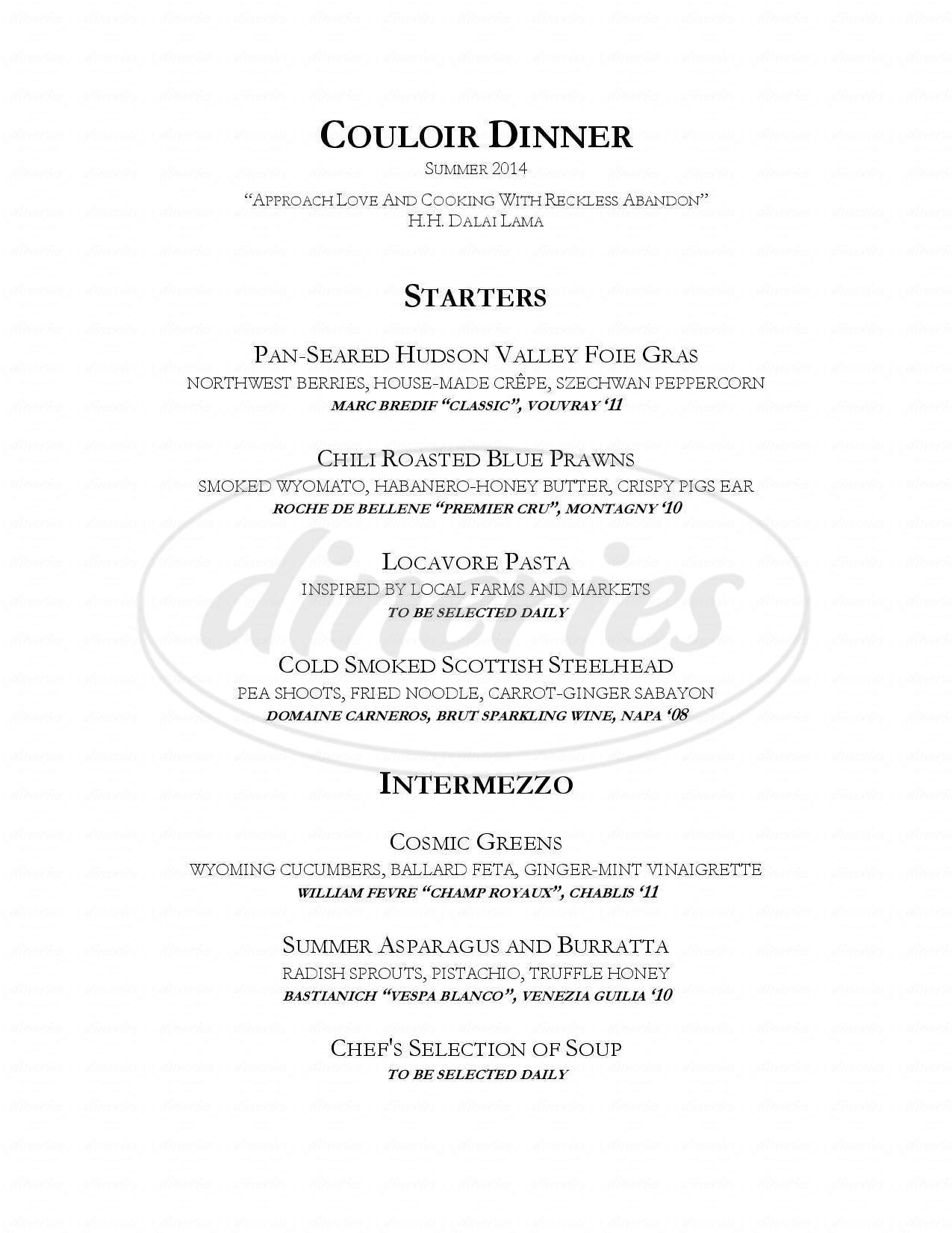 menu for Couloir Restaurant