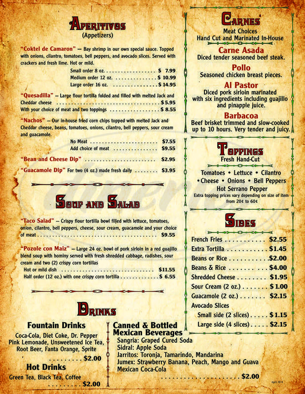 menu for Juan's House of Tacos