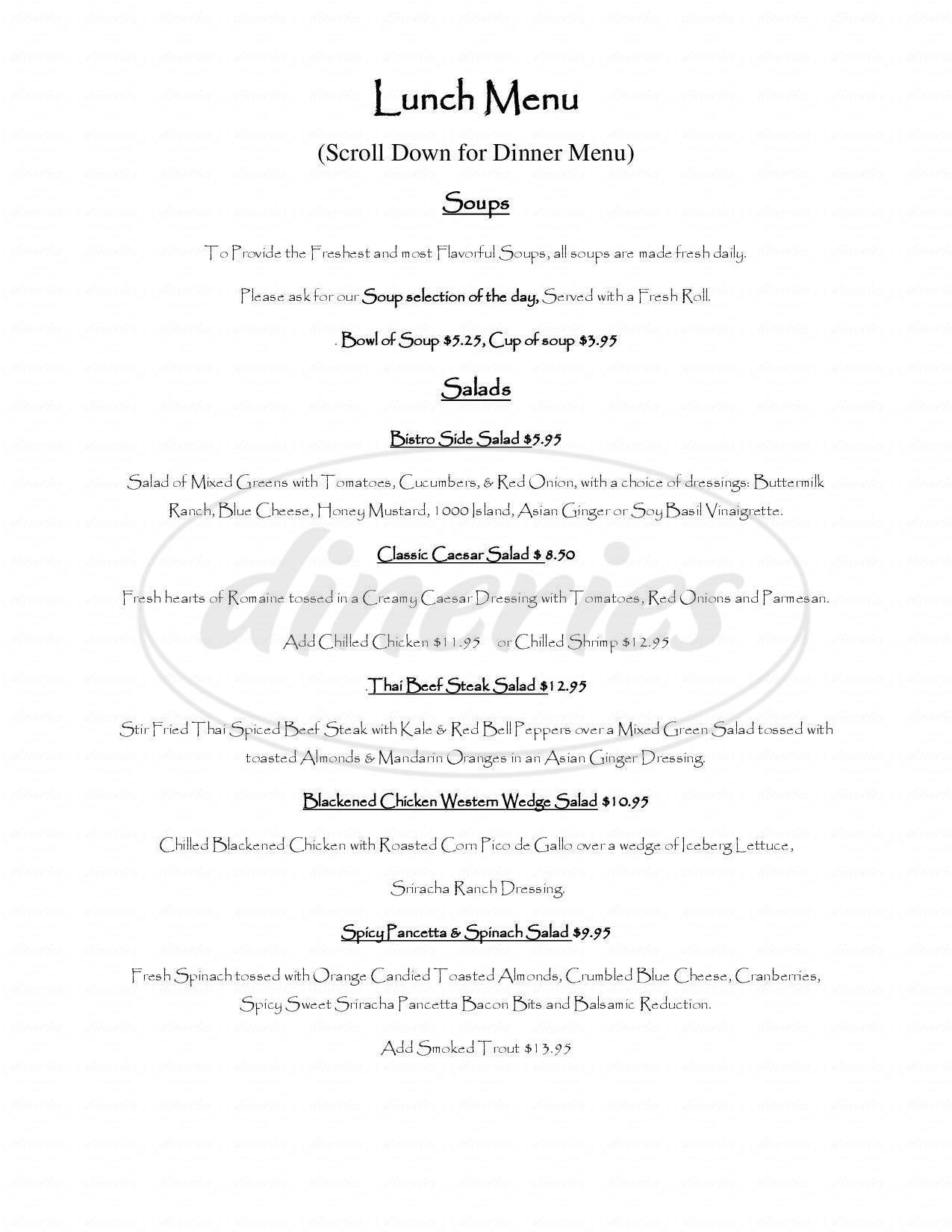 menu for Nostalgia Bistro
