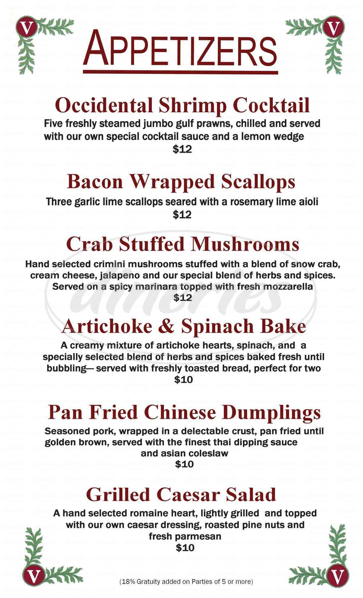 menu for Occidental Hotel