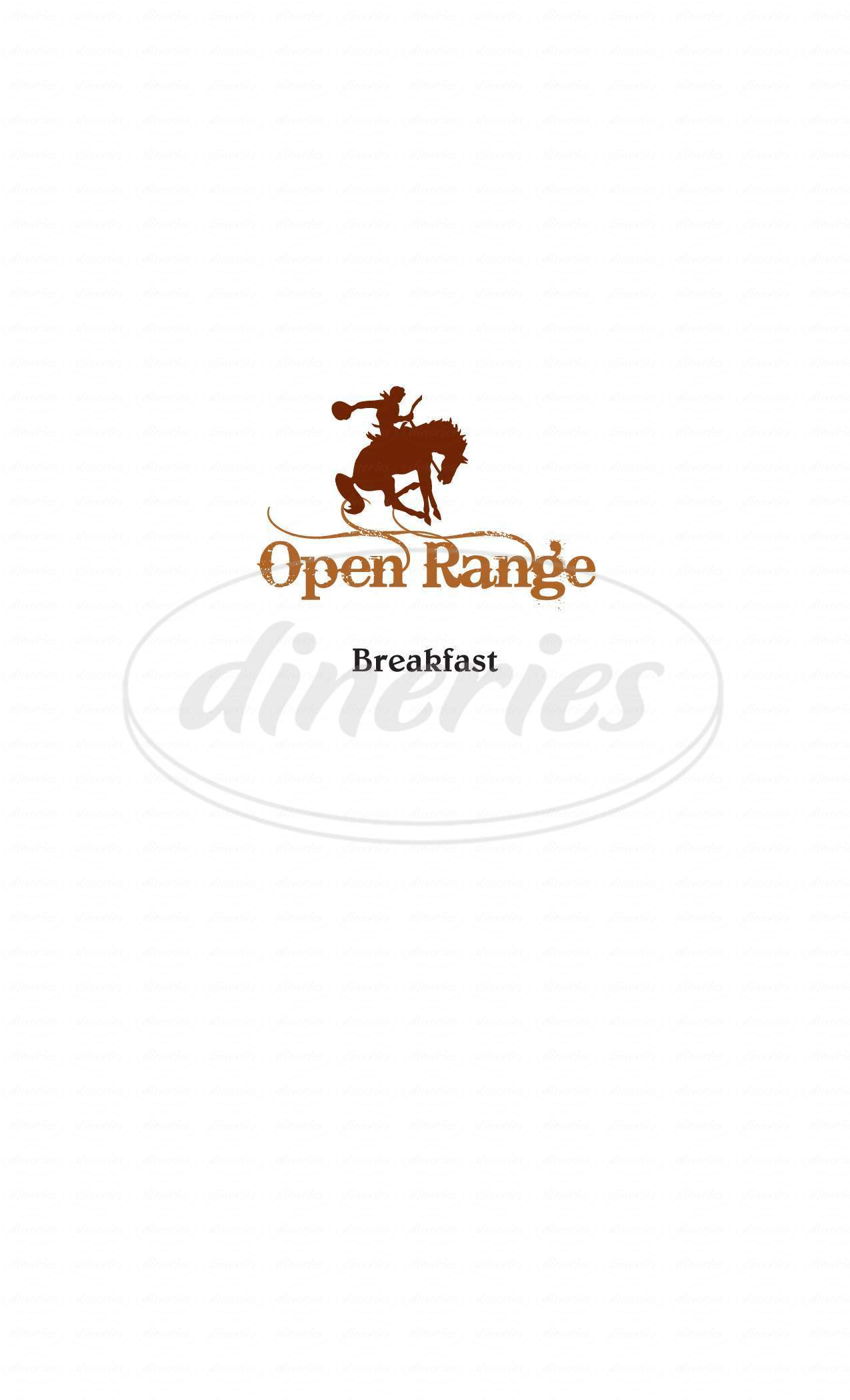 menu for Outlaw Restaurant