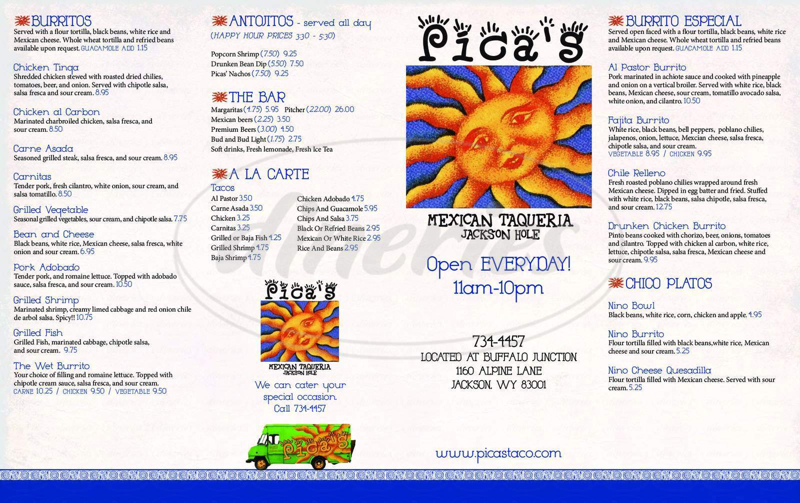 menu for Pica's Mexican Tanqueria