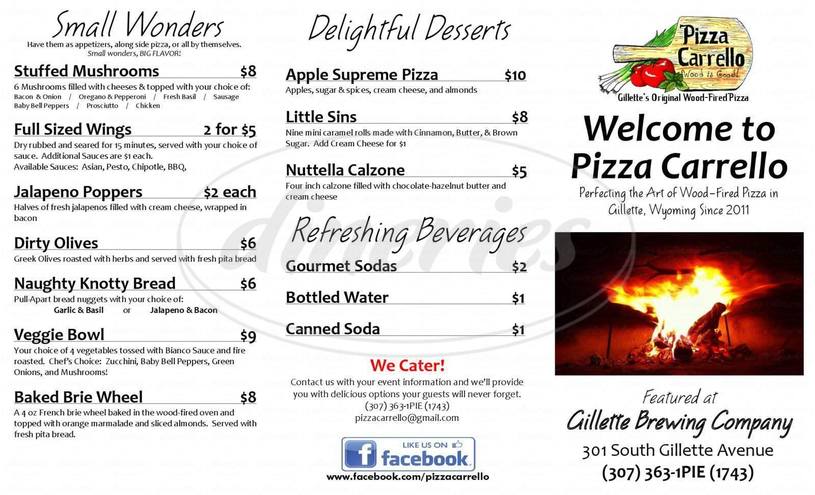 menu for Pizza Carrello, LLC