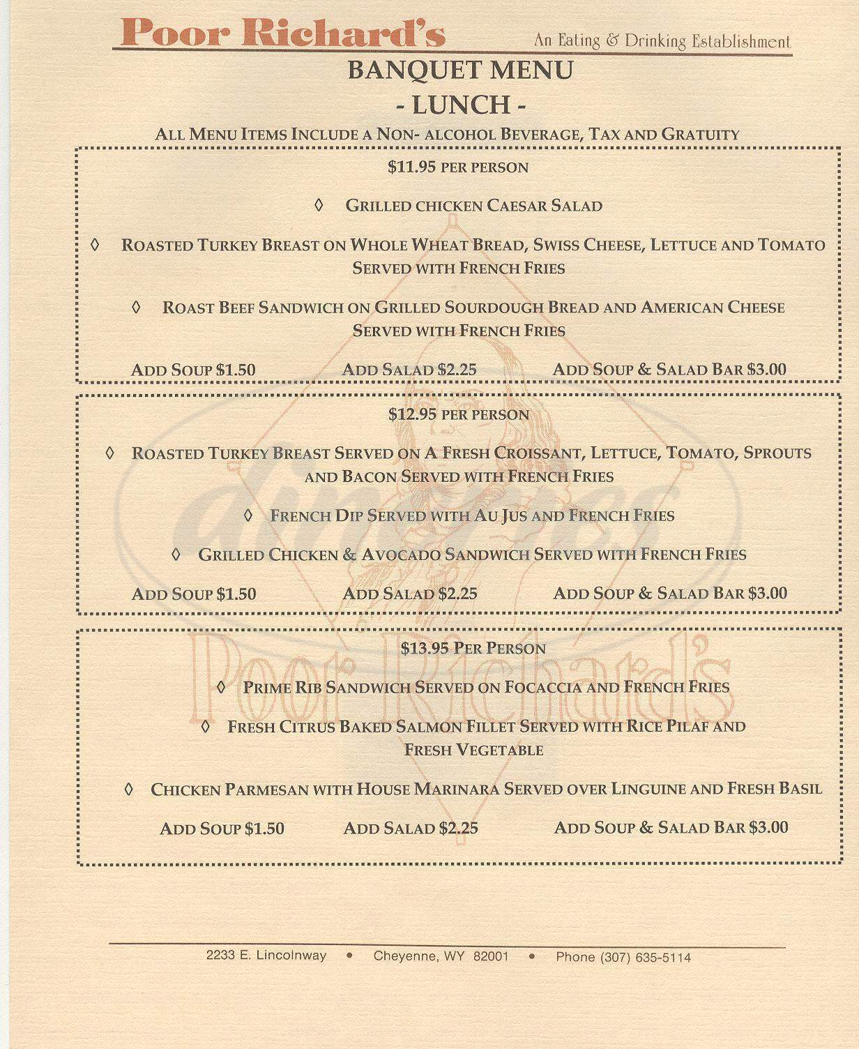 menu for Poor Richard's Restaurant