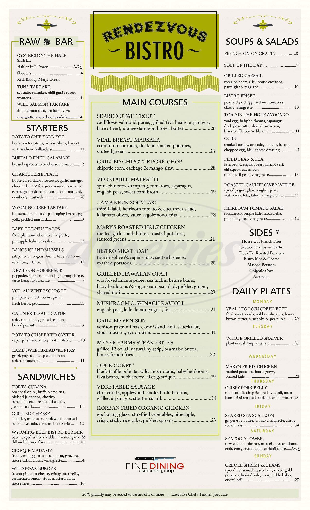 menu for Rendezvous Bistro