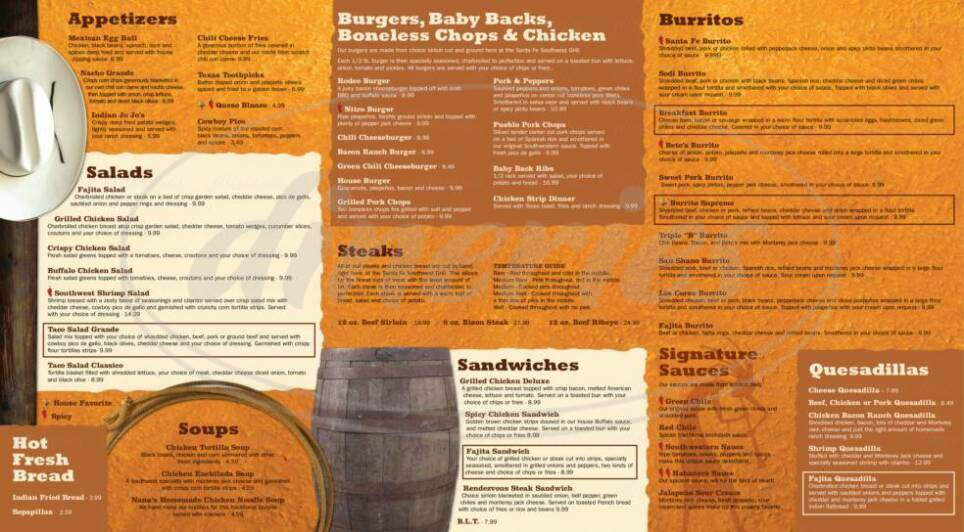 menu for Santa Fe Southwest Grill