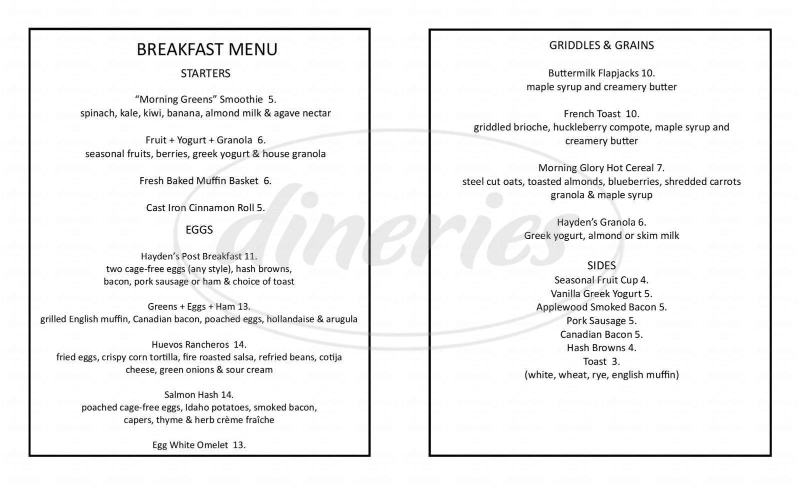 menu for Hayden's Post